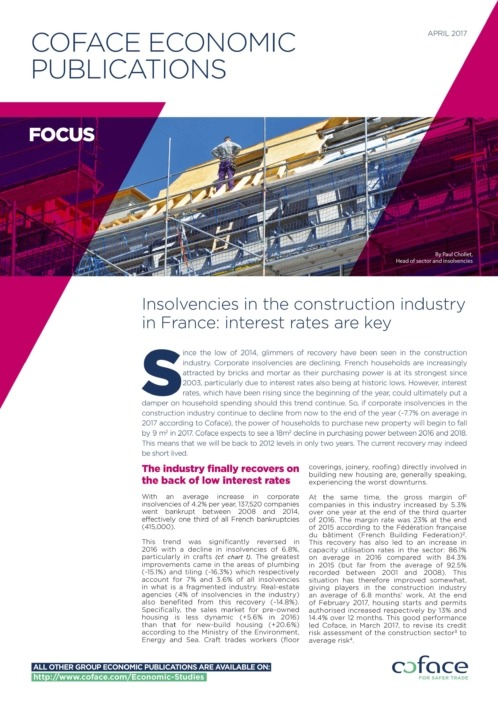 Insolvencies in the construction industry in France: interest rates are key